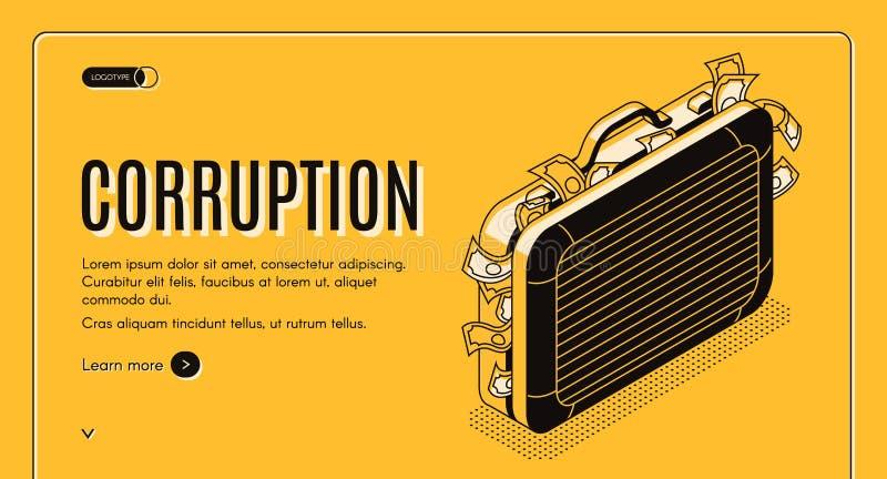 Isometrisk vektor för korruption som landar sidamallen vektor illustrationer