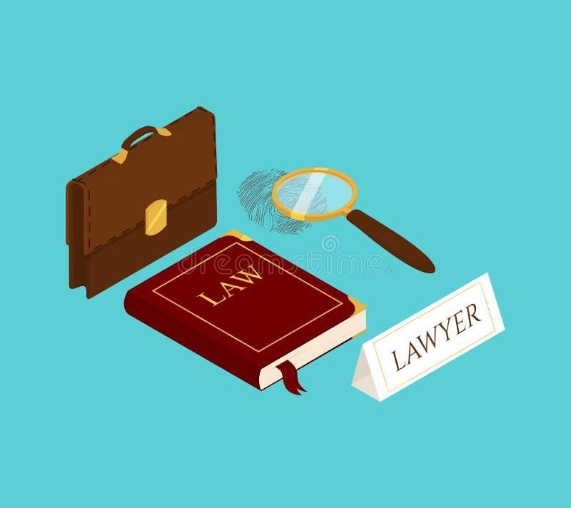 Isometrisk vektor för lag och för rättvisa royaltyfri illustrationer