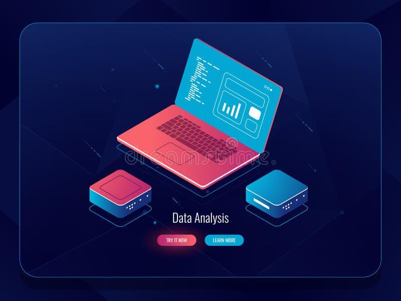 Isometrisk vektor för mjuk utveckling, rengöringsdukdesignprocess, bärbar dator med data, programmera och kodhandstil, mörkt neon stock illustrationer