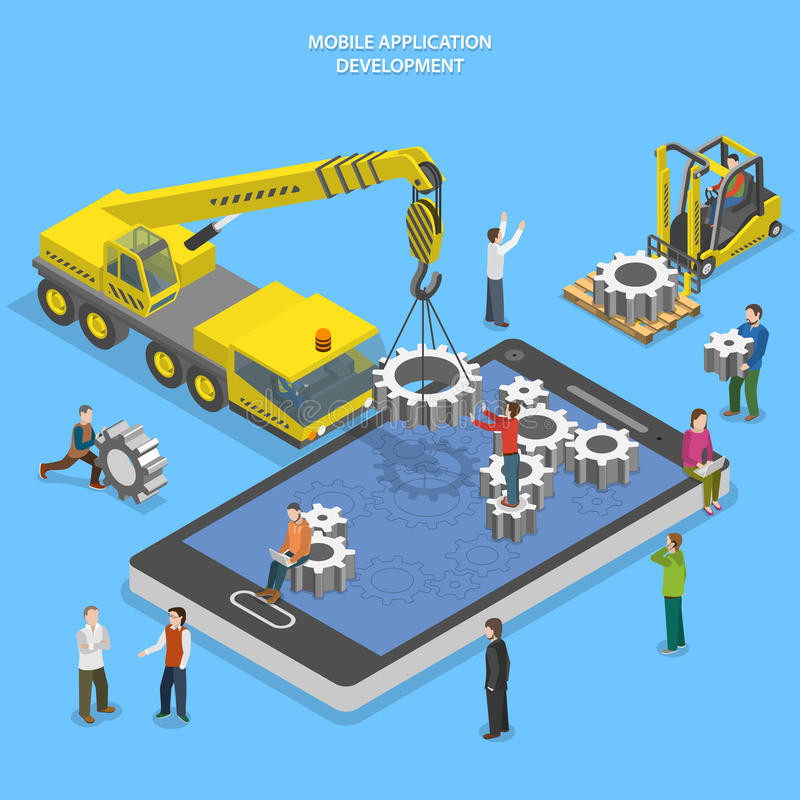Isometrisk vektor för mobil app-utvecklingslägenhet royaltyfri illustrationer