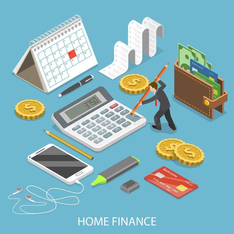 Isometrisk vektor för personlig hem- finanslägenhet stock illustrationer
