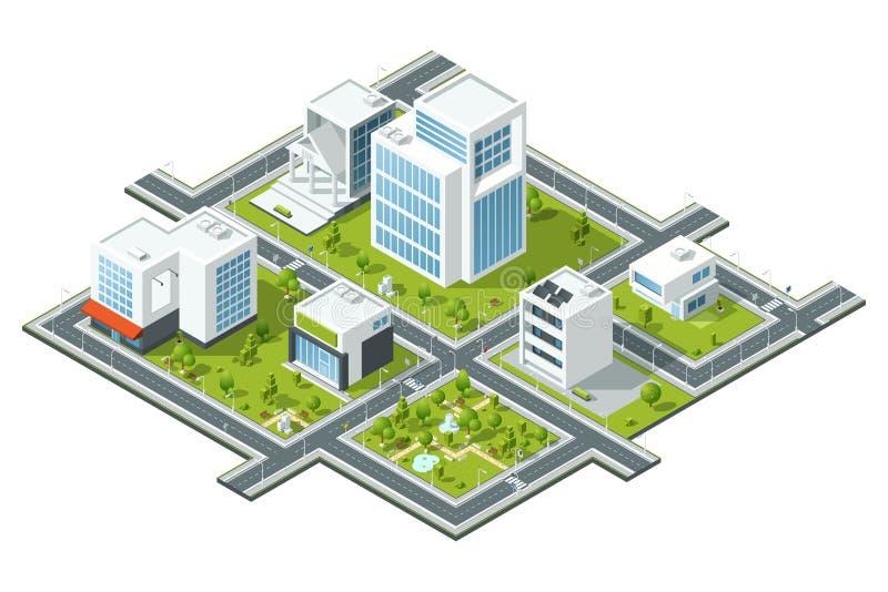 Isometrisk vektorillustration av offentliga konstruktioner Byggnader och träd på fragment för översikt 3d Kartografibild royaltyfri illustrationer
