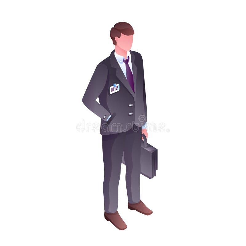 Isometrisk vektorillustration för affärsman stock illustrationer