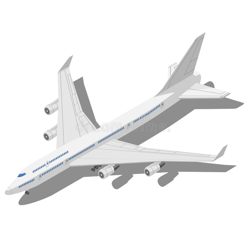 Isometrisk vektorillustration för borgerligt flygplan som isoleras på vit b vektor illustrationer