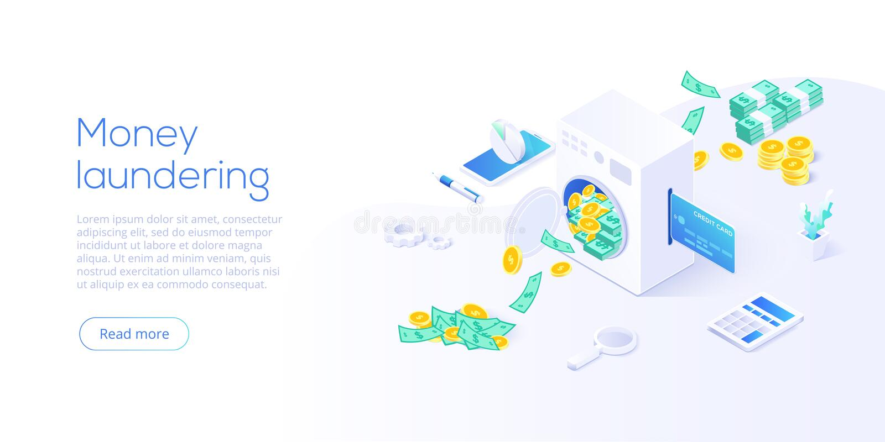 Isometrisk vektorillustration för penningtvätt Korruption och olaglig affärsidébakgrund med tvättande papper för maskin stock illustrationer
