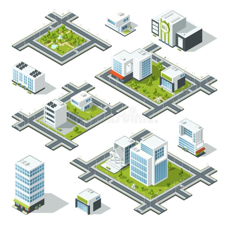 Isometrisk vektorillustration för stad 3d med kontorsbyggnader, skyskrapor Träd och buskar på gatan royaltyfri illustrationer