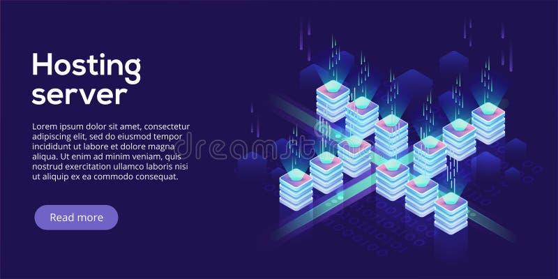 Isometrisk vektorillustration för varande värd server Abstrakt datace 3d royaltyfri illustrationer