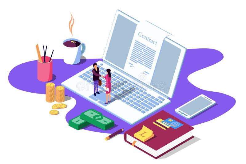 Isometrisk vektorillustration på vit bakgrund Begrepp för strategiskt partnerskap som crowdfunding, affärsframgång stock illustrationer