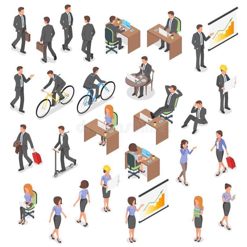 Isometrisk vektoruppsättning av affärsfolk stock illustrationer