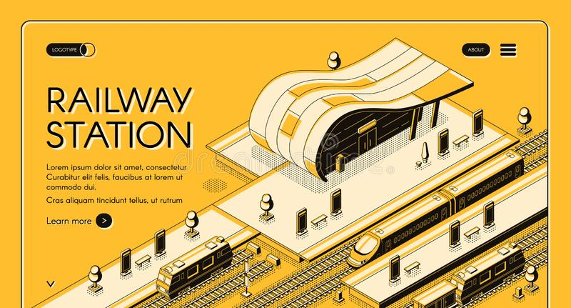 Isometrisk vektorwebpage för modern järnvägsstation royaltyfri illustrationer