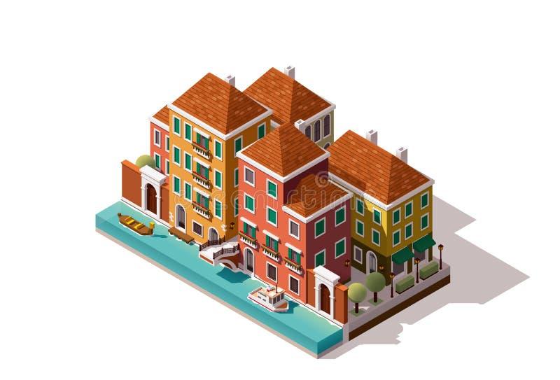 Isometrisk Venedig för vektor gata royaltyfri illustrationer