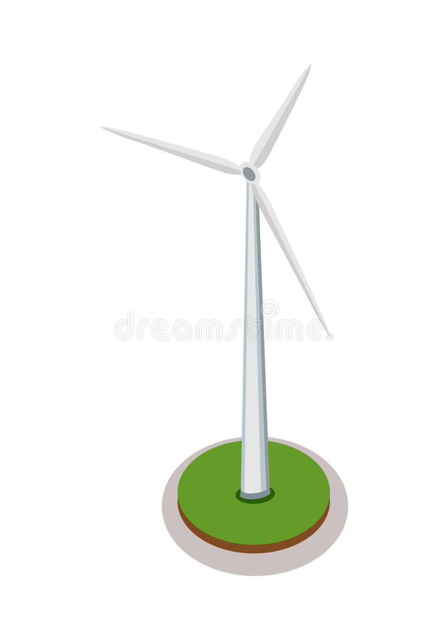 Isometrisk vindturbin vektor illustrationer
