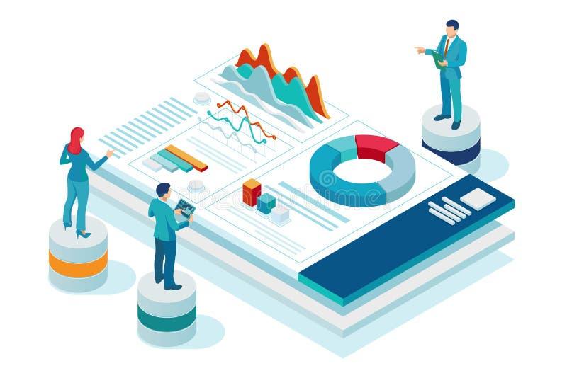Isometrisk webbplats och utvecklingskoncept för mobila webbplatser Marknadsföring och analys av webbplatser, Social Media Marketi stock illustrationer