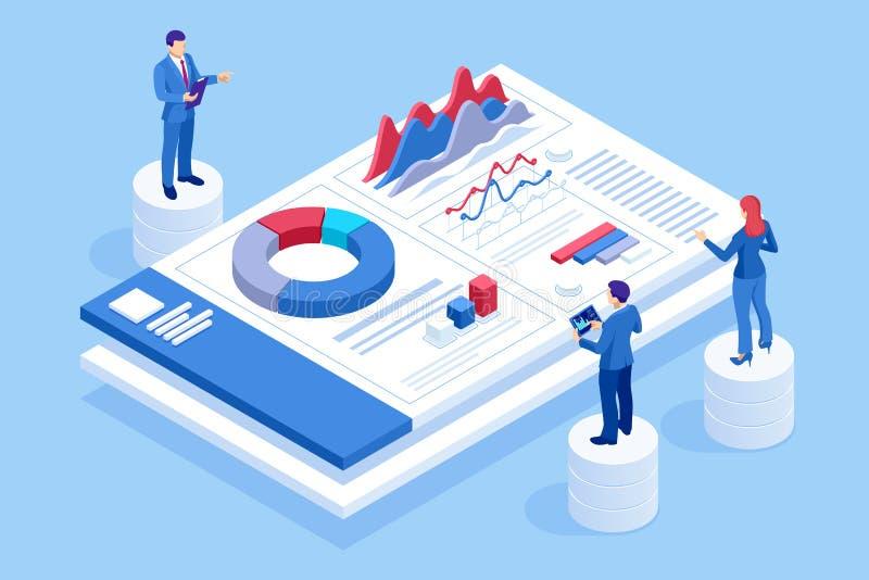 Isometrisk webbplats och utvecklingskoncept för mobila webbplatser Marknadsföring och analys av webbplatser, Social Media Marketi vektor illustrationer