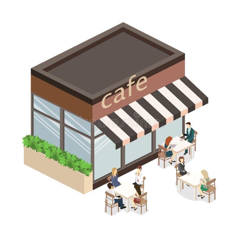 Isometrisk yttersida av coffee shop eller sötsak-shoppar royaltyfri bild