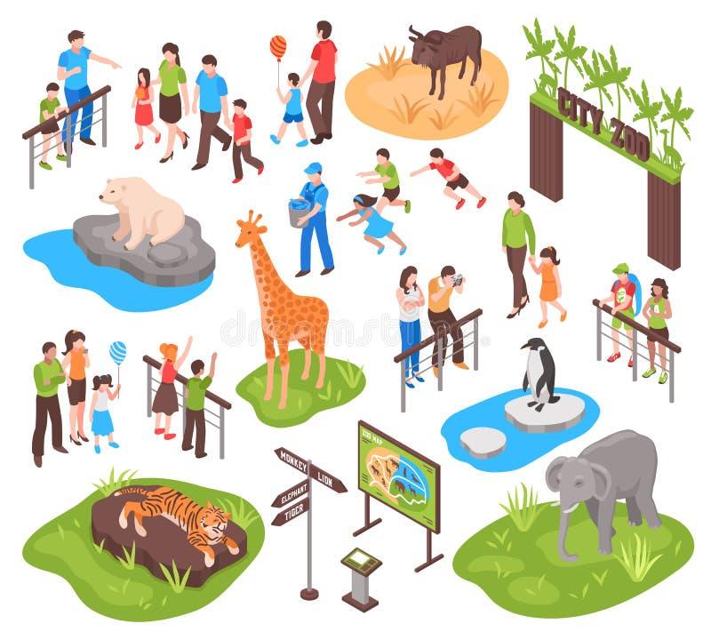 Isometrisk zoouppsättning stock illustrationer