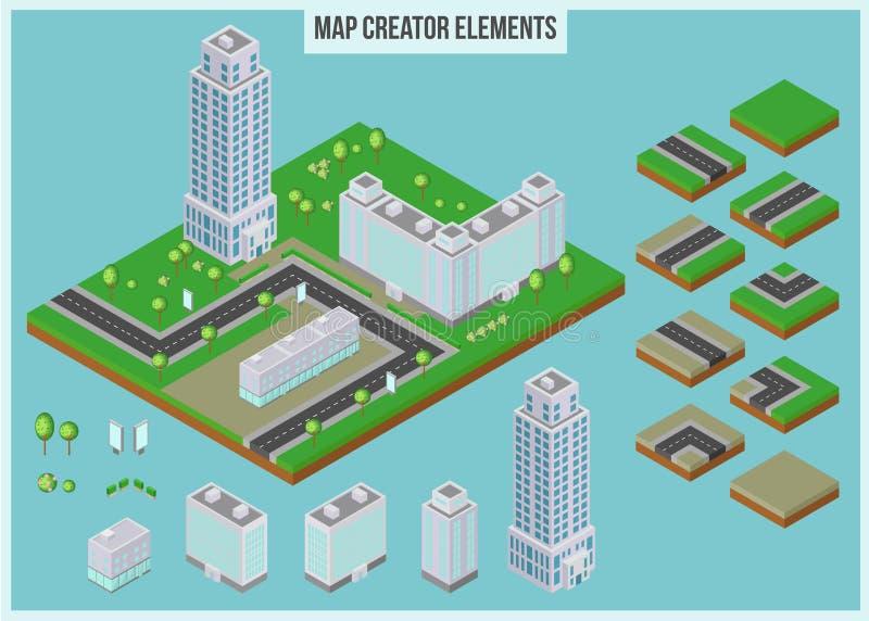 Isometriska översiktsskaparebeståndsdelar för stadsbyggnad stock illustrationer