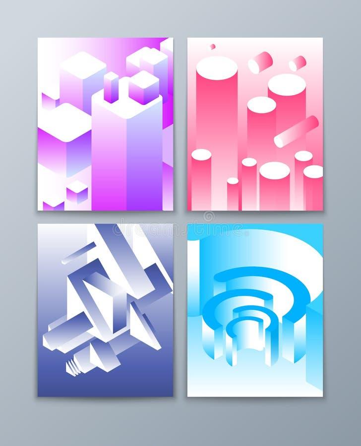Isometriska abstrakt begreppformer futuristiska geometriska objekt 3d i moderiktiga färger Vektorbroschyrsamling vektor illustrationer