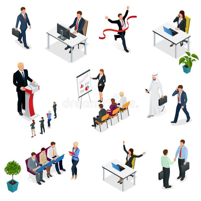 Isometriska affärsförhandlingar Moderiktigt isometriskt ungt idérikt folk Rekryteringprocess som ställer in isometrisk affär stock illustrationer