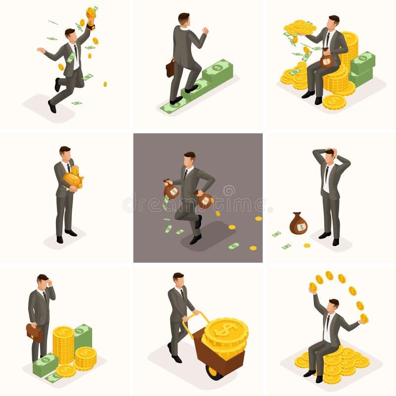 Isometriska affärsmän 3d, en uppsättning av begrepp med en affärsman och en grupp av pengar, en aktieägaremiljonärrikeman royaltyfri illustrationer