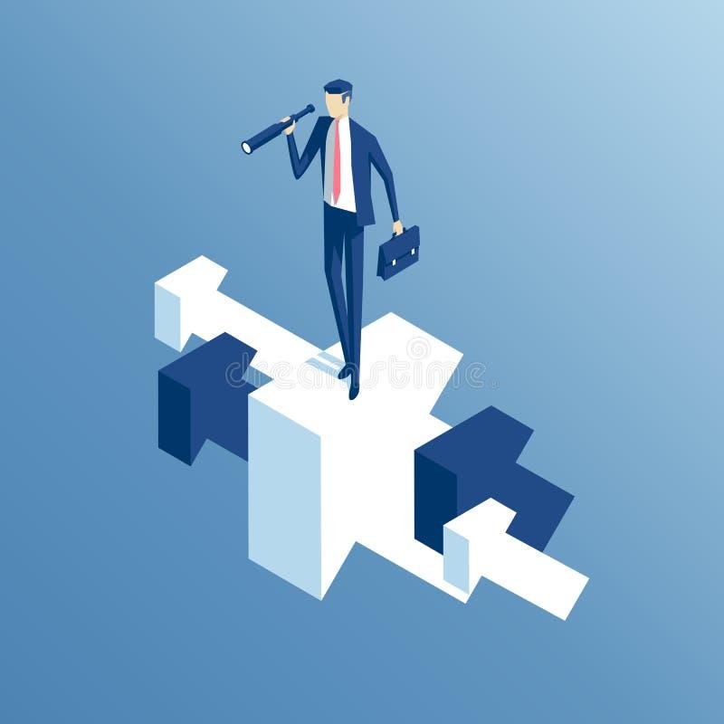 Isometriska affärsman och pilar stock illustrationer
