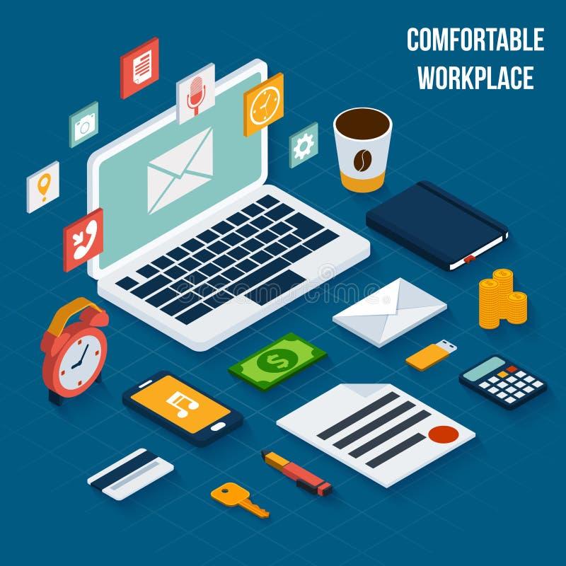 Isometriska arbetsplatsbeståndsdelar stock illustrationer