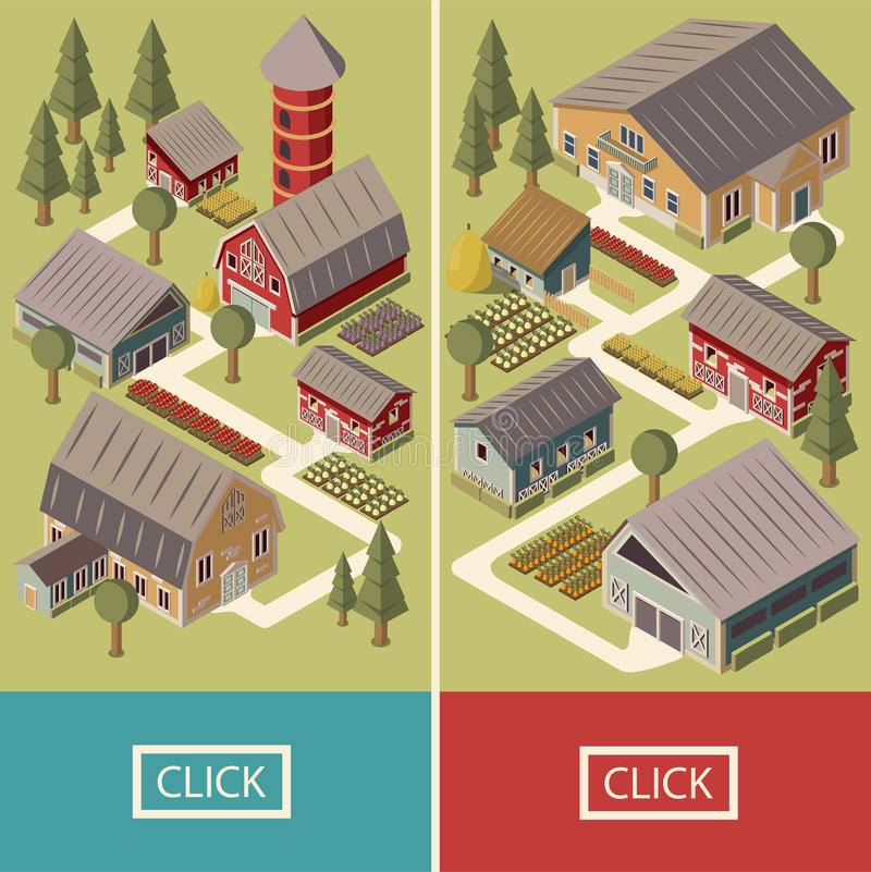 Isometriska baner för lantgård royaltyfri illustrationer