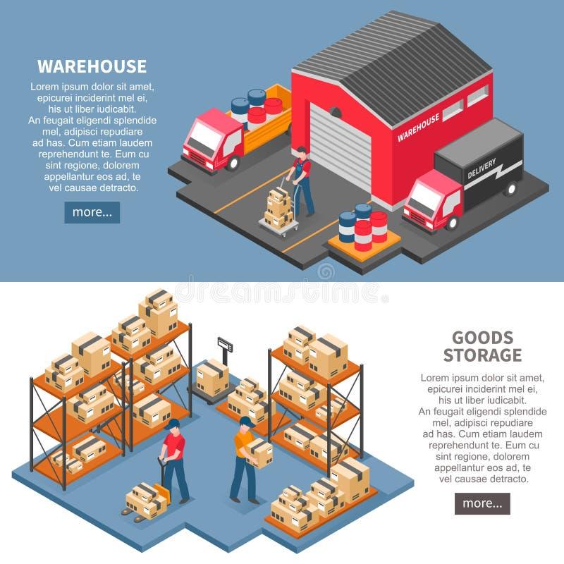 Isometriska baner för logistik och för leverans royaltyfri illustrationer