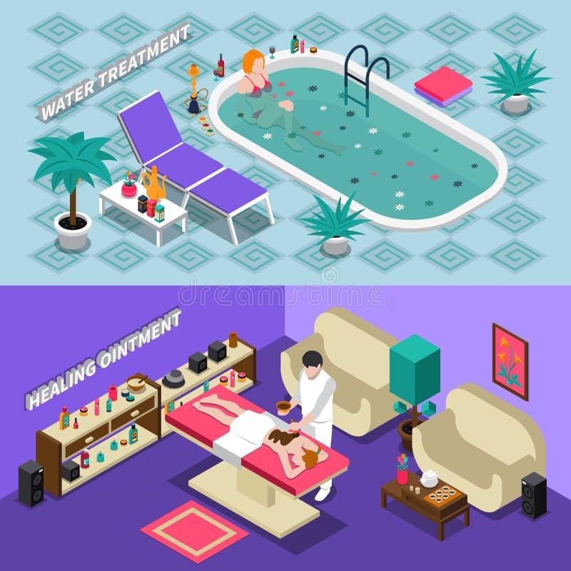 Isometriska baner för Spa salong royaltyfri illustrationer