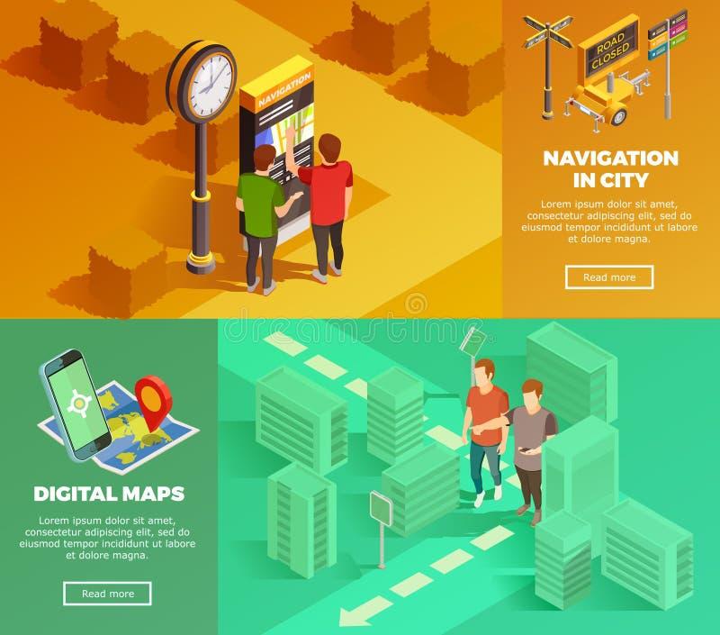 Isometriska baner för stadsnavigering stock illustrationer