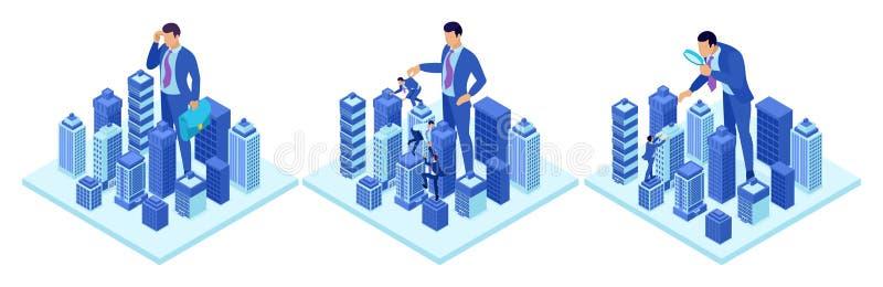 Isometriska begrepp av en stor affärsman som kör en stad För website och mobil applikationdesign stock illustrationer