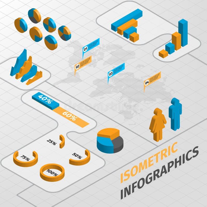 Isometriska beståndsdelar för affärsinfographicsdesign vektor illustrationer