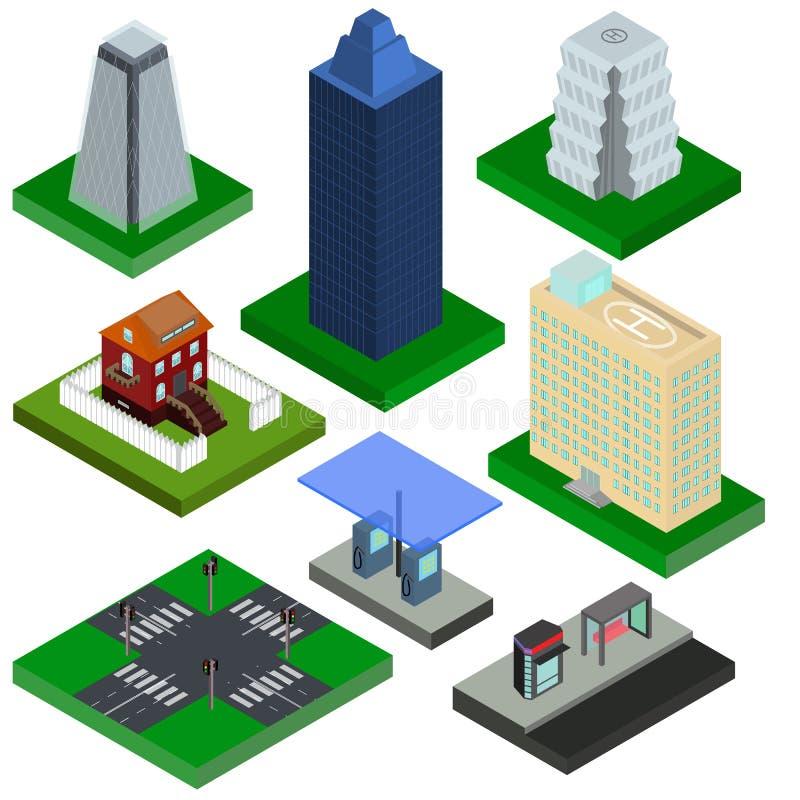 Isometriska beståndsdelar för stad, hus, bensinstation och tvärgata w stock illustrationer
