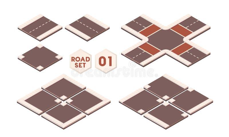 Isometriska beståndsdelar för vägkonstruktion för sityöversikt Ställ in av vägbanan royaltyfri fotografi