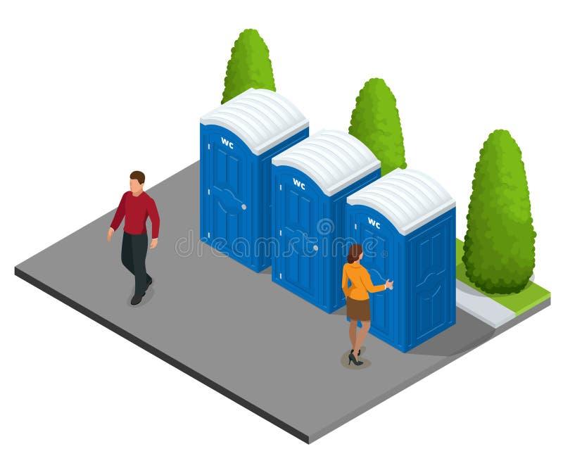 Isometriska Bio mobila toaletter i staden Blå bio WC i staden Fotvandra service Plan symbol för färgstilillustration vektor illustrationer