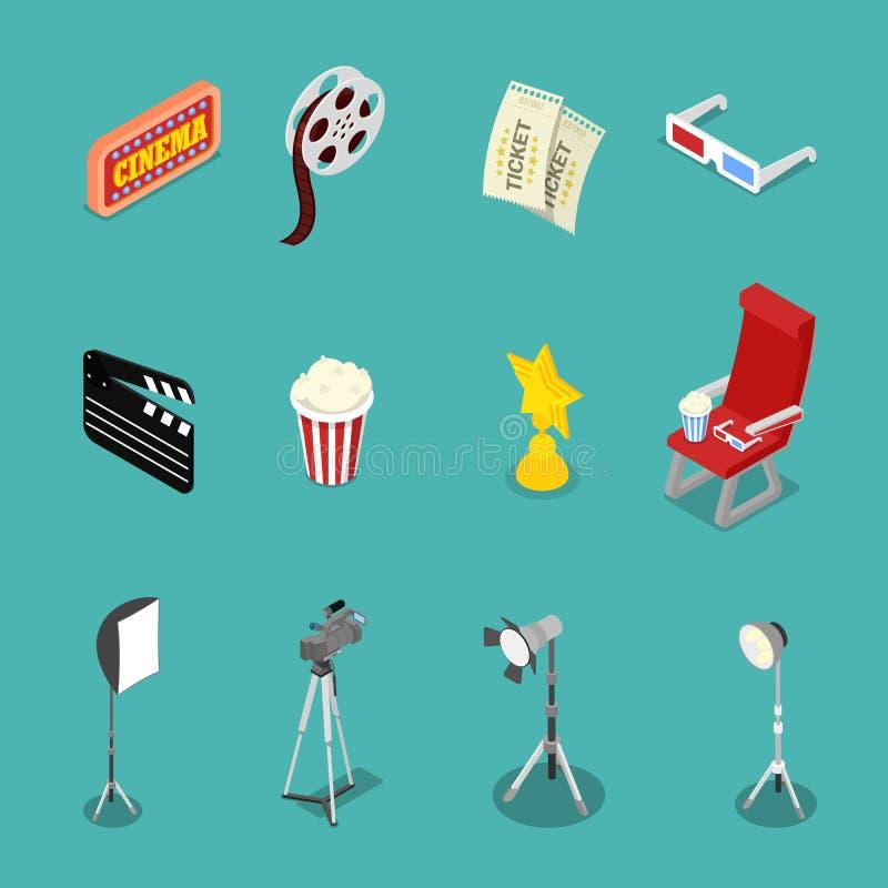 Isometriska biosymboler med filmrullen, exponeringsglas och filmdanandeutrustning stock illustrationer