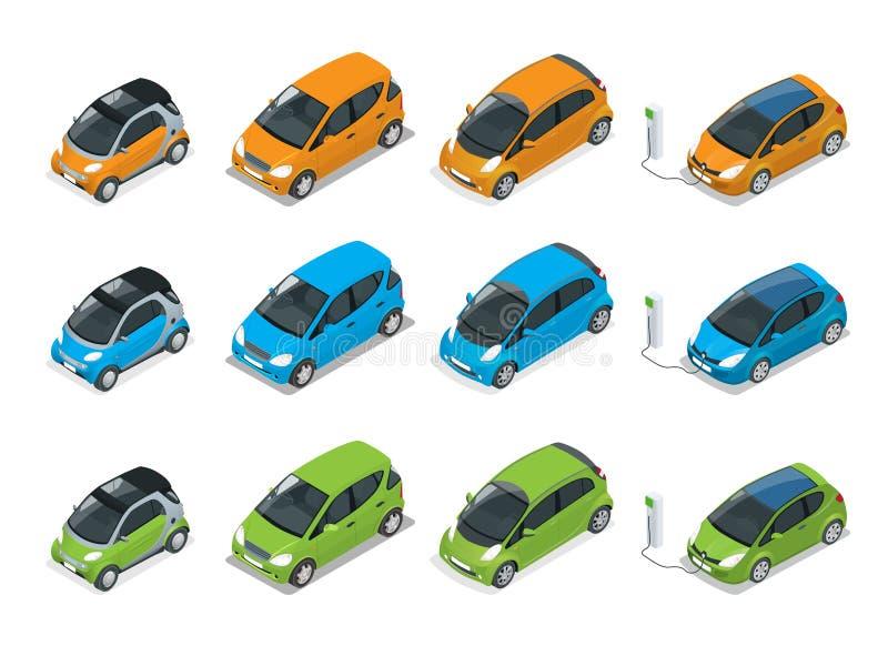 Isometriska bland, elkraft och Mini Cars Stadsbilar på vit bakgrund Smart bil för plan överenskommelse för vektor 3d vektor illustrationer
