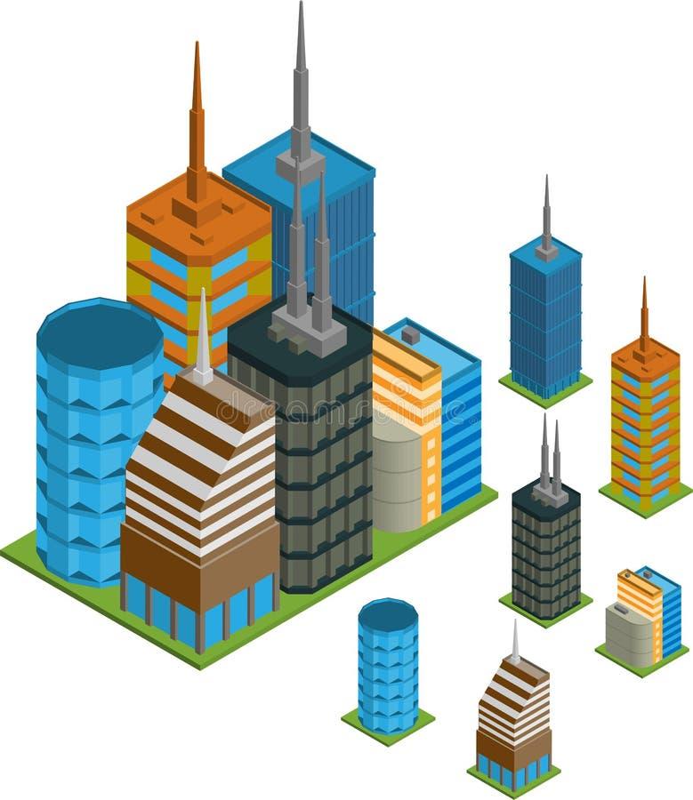 Isometriska byggnader stock illustrationer