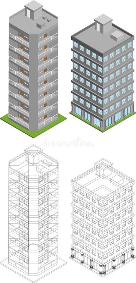 Isometriska byggnader royaltyfri illustrationer