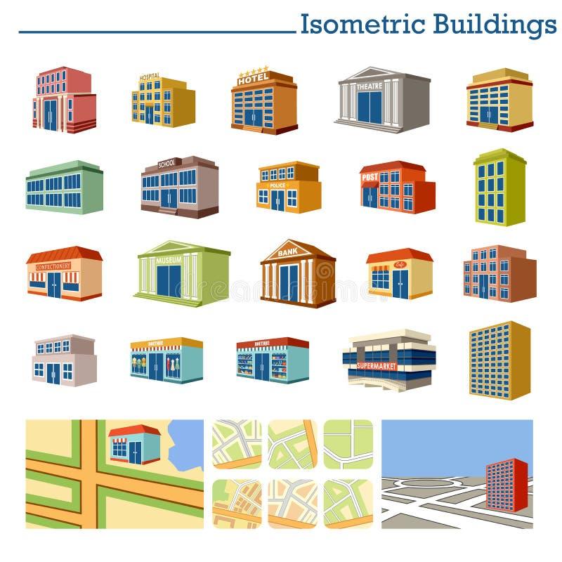 Isometriska byggnader och översikter stock illustrationer