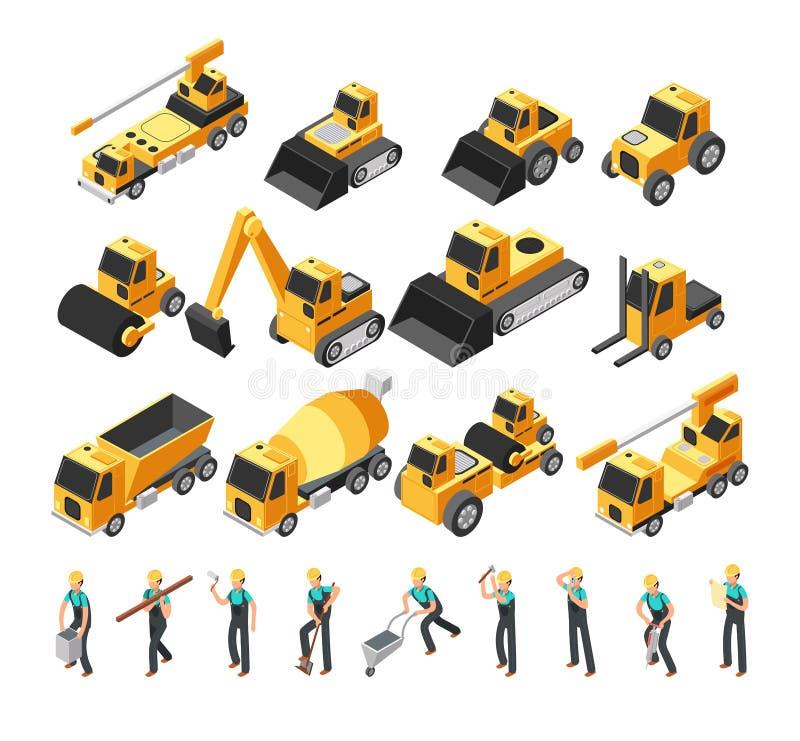 Isometriska byggnadsarbetare, byggande maskineri och vektoruppsättning för utrustning 3d royaltyfri illustrationer