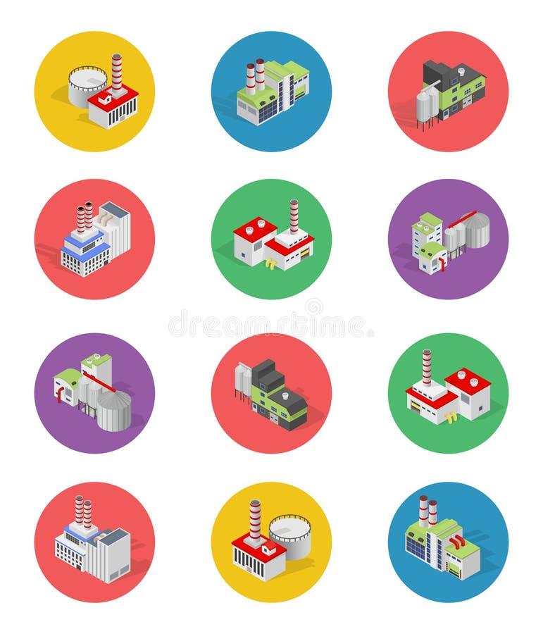 Isometriska byggnadsfabrikssymboler med skugga vektor illustrationer