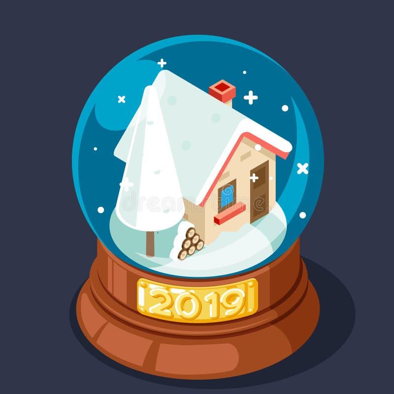 Isometriska 2019 chrismas övervintrar snö täckte den enkla hemtrevliga illustrationen för vektorn för designen för husexponerings royaltyfri illustrationer