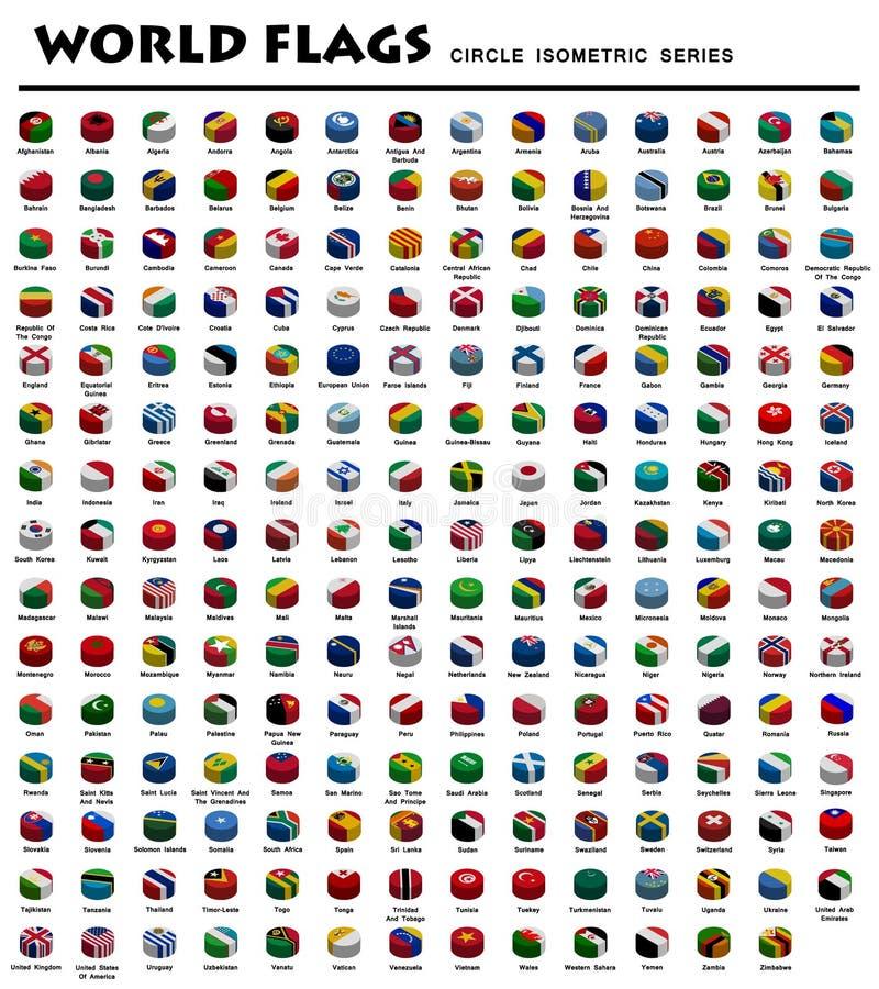 Isometriska cirkelflaggor av världen vektor illustrationer