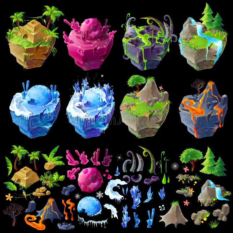Isometriska 3d fantastiska öar för vektor, detaljer för gui, modig design Tecknad filmillustration av olika landskap stock illustrationer