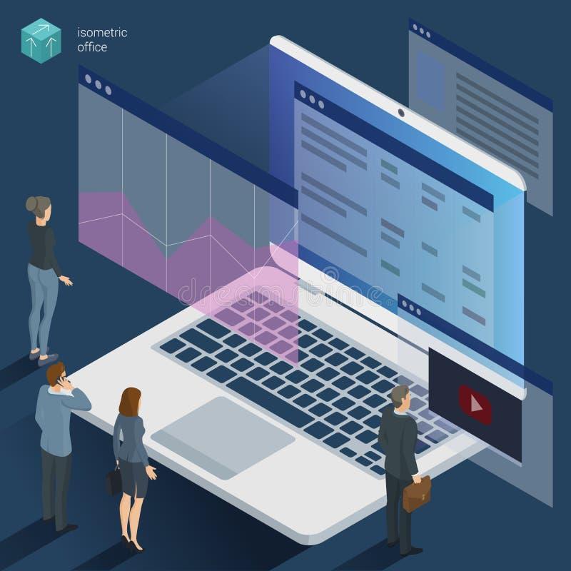 Isometriska 3d sänker arbete för designvektorkontoret royaltyfri illustrationer