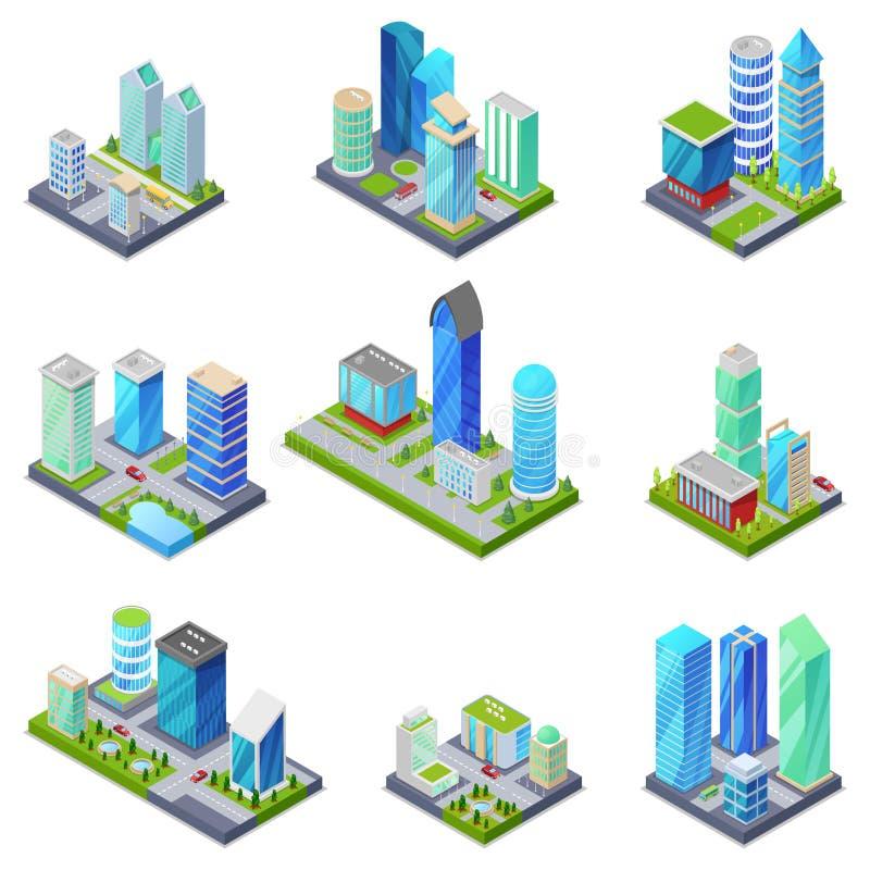 Isometriska för sommarstad för uppsättning 3D fjärdedelar royaltyfri illustrationer