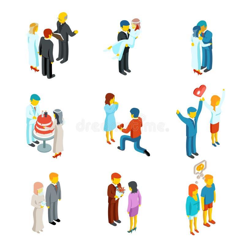 Isometriska folksymboler för förhållande 3d och bröllop royaltyfri illustrationer