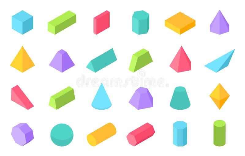 Isometriska former 3D geometrisk form, plana geometripolygonobjekt liksom sfär för prismapyramidcylinder vektor stock illustrationer