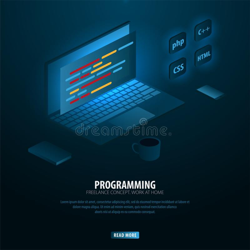 Isometriska framkallande programmera och kodifiera teknologier Kan använda för rengöringsdukbaner eller infographics Frilans- beg vektor illustrationer